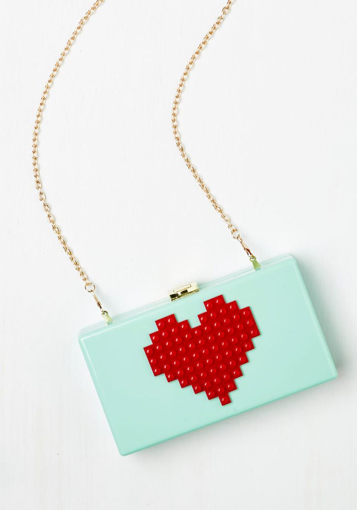 8-Bit Endearment Clutch - Mint, Red, Special Occasion, Party, Cocktail, Girls Night Out, Darling, Nifty Nerd, Valentine's, Summer
