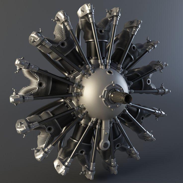 Radial Engine Render, Henning Lande on ArtStation at https://www.artstation.com/artwork/yE9YO