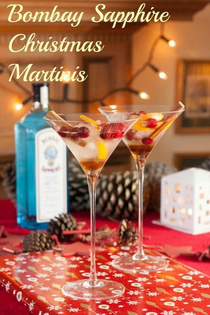 Lovely Christmas Martinis with Bombay Sapphire Gin, orange, vanilla, cinnamon and cranberries