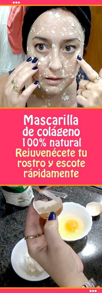 Mascarilla de colágeno. 100% natural. Rejuvenécete tu rostro y escote rápidamente