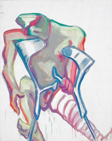 by Maria Lassnig - Senza titolo (stampelle, gamba rotta) - 2005. Arts, contemporary paintings, european female artists. Arte.
