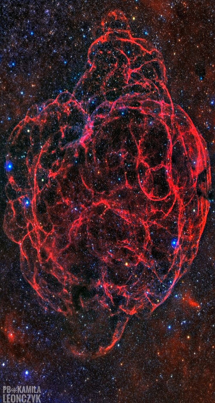 Supernova Remnant Simeis 147. Also cataloged as Sharpless 2-240 it goes by the popular nickname, the Spaghetti Nebula.Seen towardthe boundary of the constellations Taurus and Auriga, it covers nearly 3 degrees or 6 full moons on the sky. That's about 150 light-years at the stellar debris cloud's estimated distance of 3,000 light-years