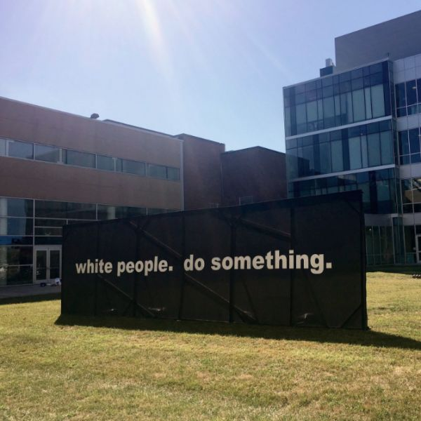 Temple University graduate student Kara Springer calls on white students to take action against racial injustice with on-campus art installation