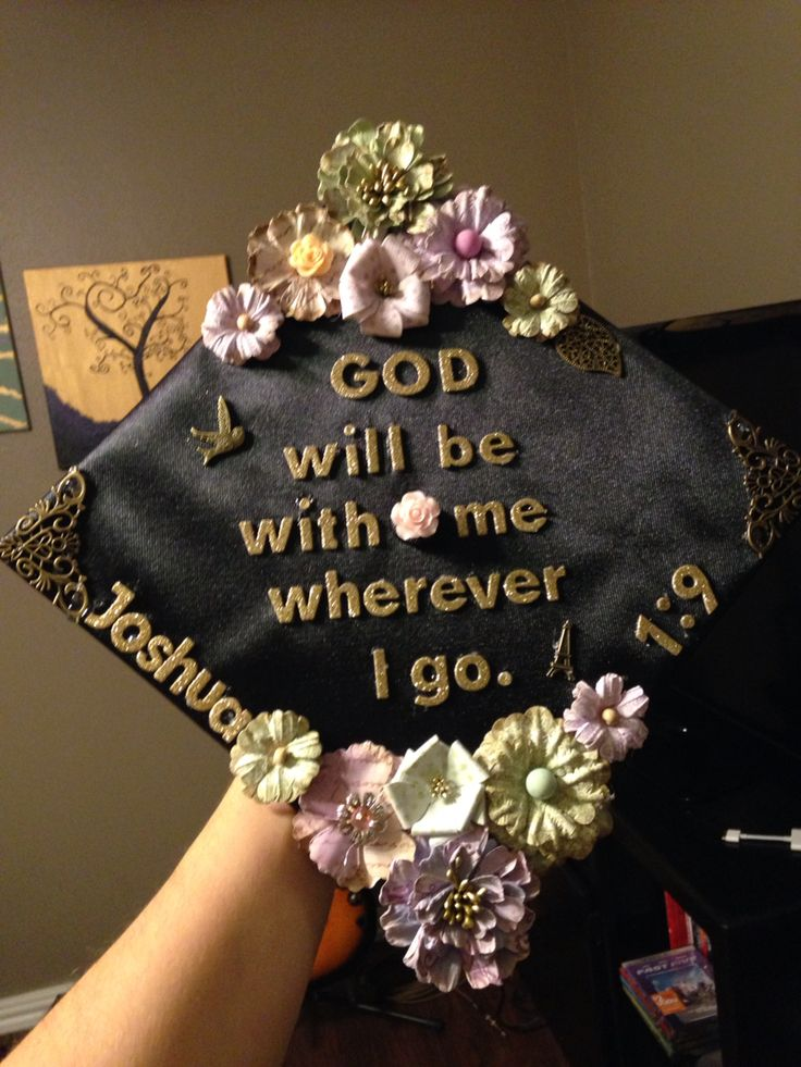 DIY Graduation Cap with scripture verse & flowers #graduation #cap