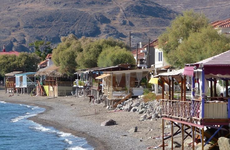 Tavernas at Skala Erresos. Join us 27th August for fun and exploration of all the wonderful sites.