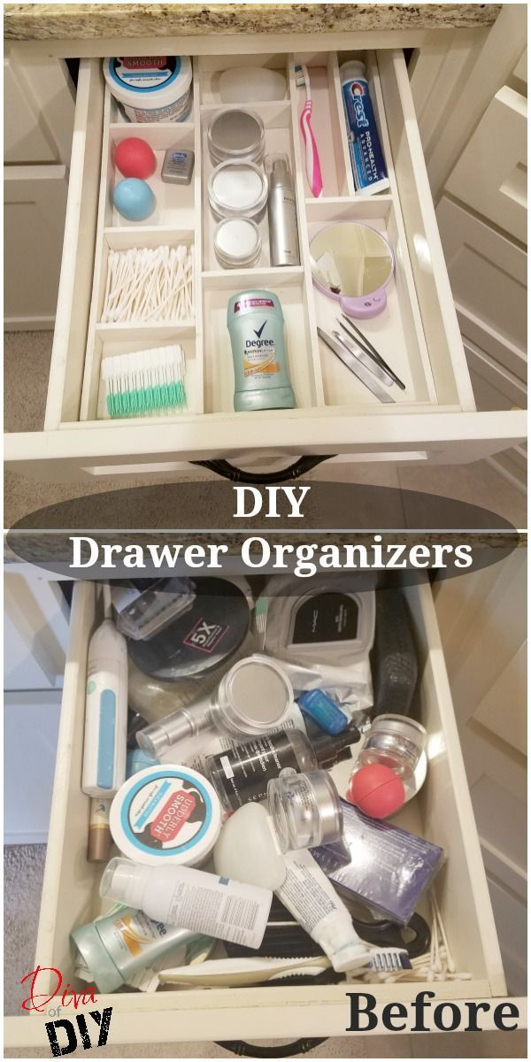 Get organized with this DIY custom wood drawer organizer! You can organize your bathroom or kitchen drawers with this easy DIY organization for the home! (Diy Organization Bedroom)