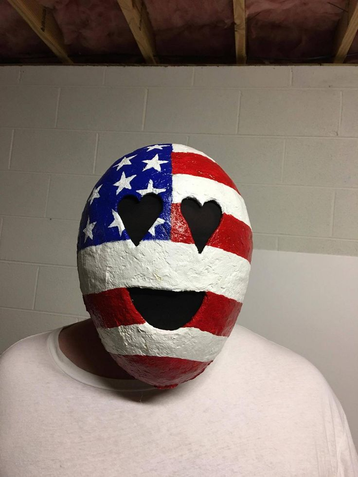 Paper Mache Emoji Mask and Wall Decoration American Flag 10/20 http://imgur.com/evzo4X4  Art & Collectibles  Sculpture  Art Objects  mask  gift  paper mache  wall decoration  costume  Halloween Costume Accessories  papier mache mask  emoji  emoji mask  fun  Halloween Mask  paper mache mask