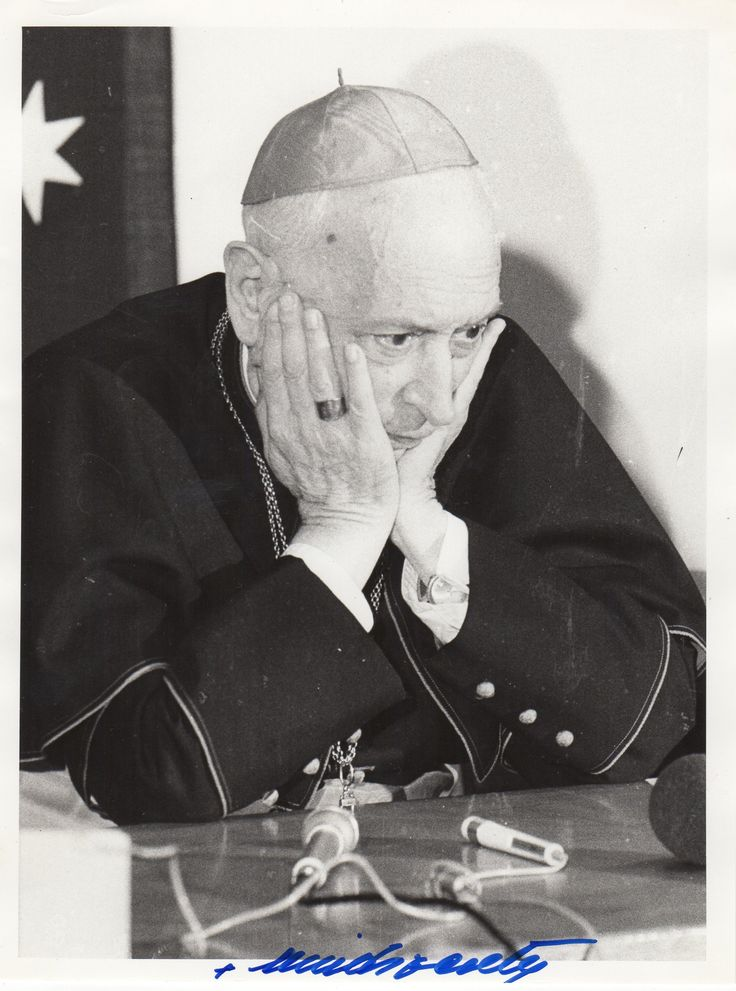 MINDSZENTY JOZSEF: (1892-1975) Hungarian Cardinal of the Roman Catholic Church, Prince Primate of Hungary and Archbishop of Esztergom 1945-73. Mindszenty was imprisoned by the pro-Nazi Arrow Cross Party during World War II and was later given a life sentence in a show trial in 1949. He was freed in the Hungarian Revolution of 1956 and finally allowed to leave the country in 1971