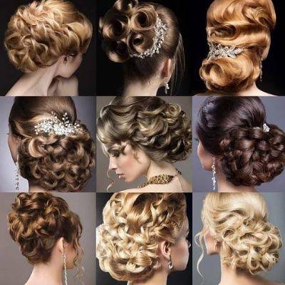 Kolekce svatebních účesů. Krásné holky. Krása vlasy — Stock obrázek #79854216
