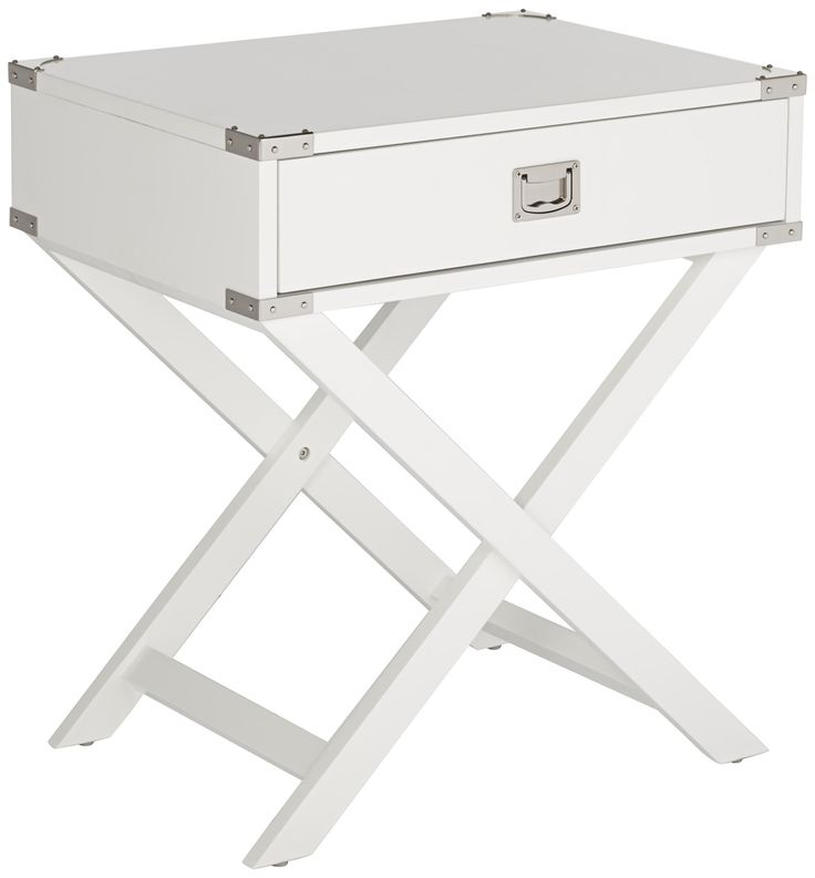 Bledsoe Crossed Base White Accent Table 27h x 24w x 18d