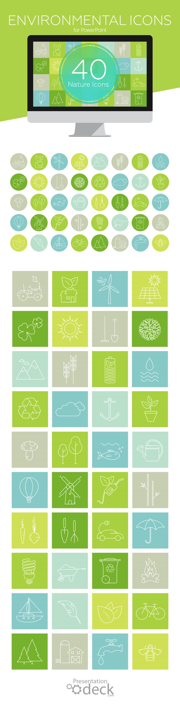 Lovely set of vector-based outline icons ready to use in your PowerPoint presentations on global warming, forest conservation, agriculture, etc.