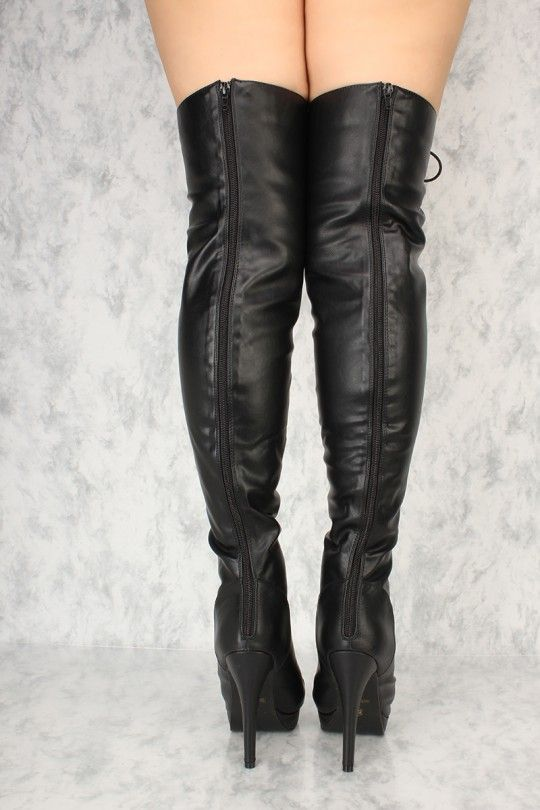 0dd1bb1c784d Black Lace Up Thigh High Heel Boots Faux Leather