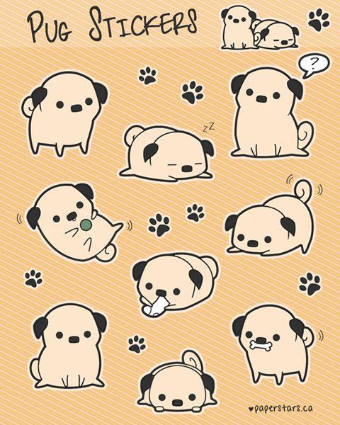 pagu no nioi   | anomalousis:   Pug Stickers by littlepaperforest! 2fbdee53a2f925b27e9998e14741eba1