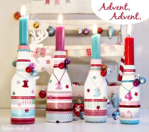 adventskranz aus flaschen x mas pinterest advent calendar. Black Bedroom Furniture Sets. Home Design Ideas