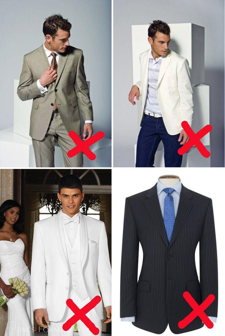 V jakém oblečení vás uvidíme velmi neradi? Ve světlém (i když jinak vám třeba sluší); v džínách a saku (kdo přijde takhle vymustrován, toho vyfotím do Pekla a pomluvím!); v bílém smokingu (ten si nechte na svatbu); v proužkovaném nebo jinak vzorovaném obleku. Nad tím posledním případem ale lze přimhouřit oko - jestli máte tmavý oblek s decentním proužkem, nový bez proužku si kupovat nemusíte ;)