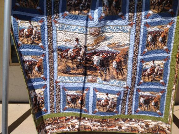 Hereford cattle round up cowboy horseman ranch by coronaquilts, $257.77