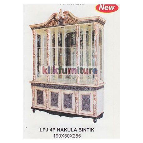 Harga Pajangan 4 Pintu Nakula Bintik Cms Condition:  New product  Lemari Hias Pajangan Ruang Tamu Kaca 4 Pintu Ukuran Panjang : 190cm, Lebar : 50 cm, Tinggi : 255 cm Finishing Bintik