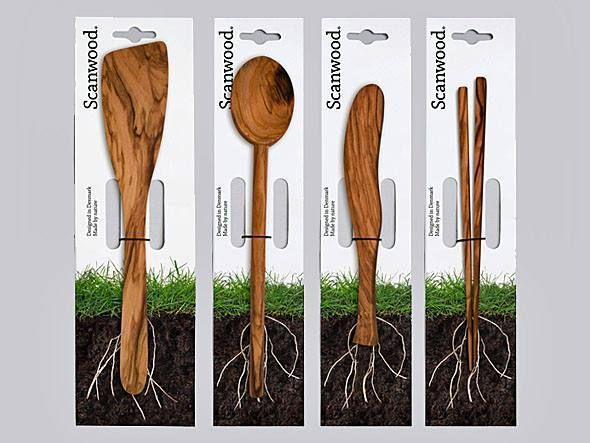 Embalagem que desmonstra que os produtos são feitos de madeira pura.