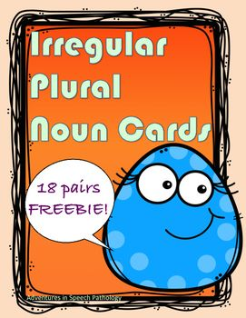 This freebie contains 18 pairs of irregular plurals. You can use your imagination and do whatever you'd like with them! Play memory, create long and silly sentences.....The CCSS L.2.1b references using frequently occurring irregular plural nouns, so I hope you can adapt this resource to support this.