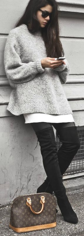 Monja Wormser + two brilliant trends + cute winter outfit + knitwear trend + pair of thigh high boots + simplistic yet sophisticated style   Jumper: H&M, Boots: Public Desire, Dress: Zara, Leggings: Moss Copenhagen.