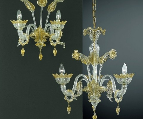 Beautiful Murano Glass Chandelier In Crystal With Pure Gold Decors On The Leafs