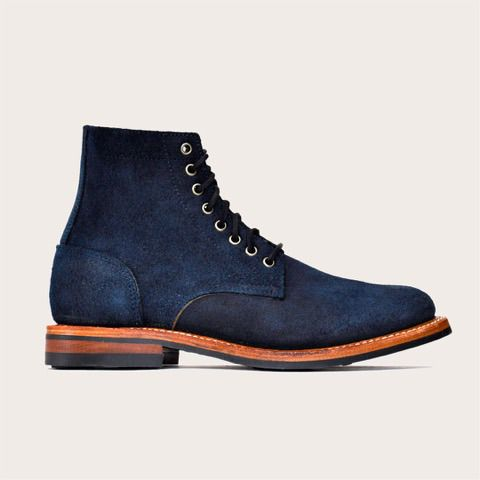Oak Street Bootmakers - Indigo Roughcut Trench Boot - hand-dyed indigo leather