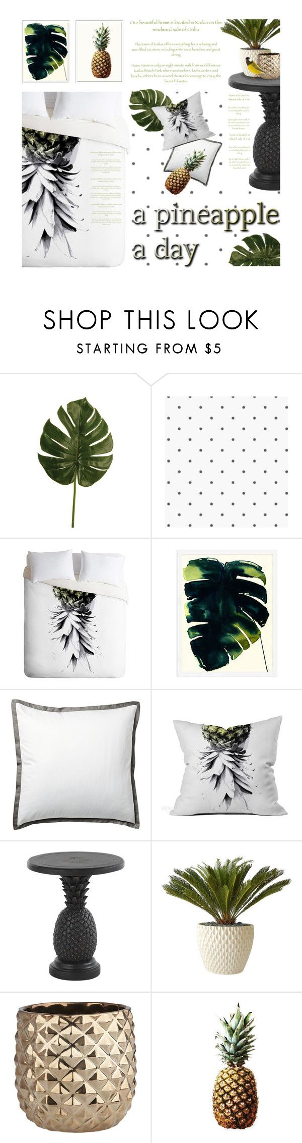 """Pineapple Bedroom"" by kearalachelle on Polyvore featuring interior, interiors, interior design, home, home decor, interior decorating, Linea, Dot & Bo, Serena & Lily and Tommy Bahama"