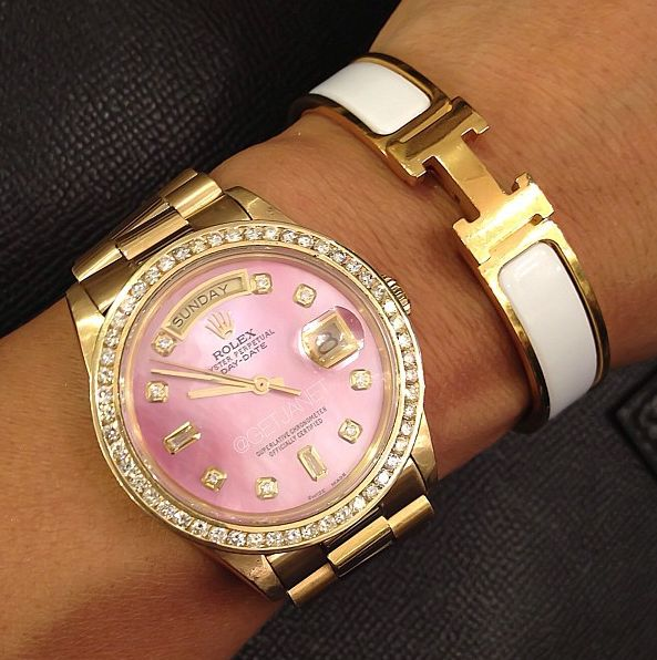 pink rolex and white hermes. its like a dream.
