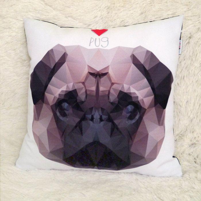 Pug Pillow Dog Decorative Cushion Pug Mops Carlin Geometric Dog Portrait, Cute Pet Lover Gift, Pug Home Decor by PSIAKREW on Etsy