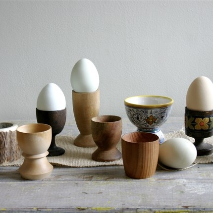 Collection of wood egg cups.