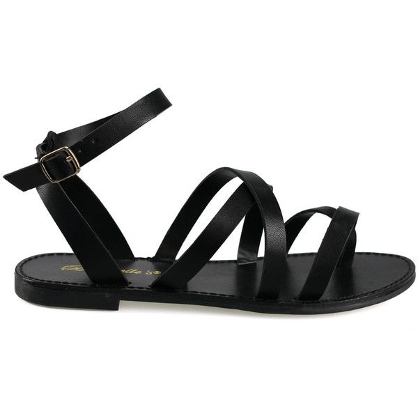 Kiera-11 Black Strappy Gladiator Flat Sandals ($16) ❤ liked on Polyvore featuring shoes, sandals, strappy flat sandals, gladiator sandals, strappy gladiator sandals, black strappy shoes and flat strap sandals