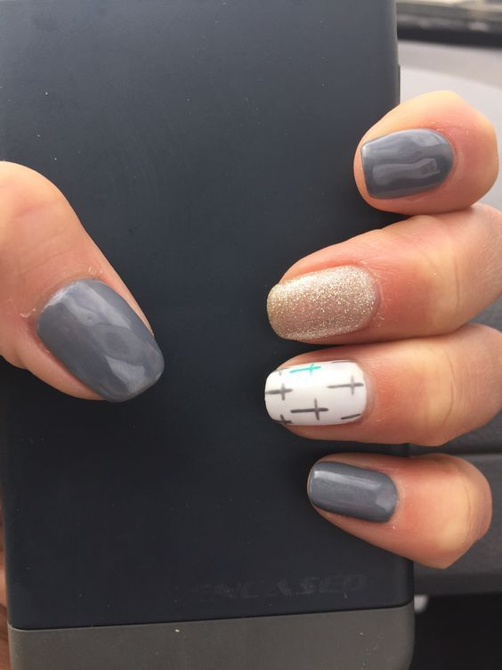 Grey-Nails | DIY Easter Nail Art Ideas for Teens | Easy Spring Nail Designs for Short Nails