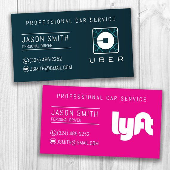 Uber/Lyft Business Cards, Uber Eats, Social Media Cards