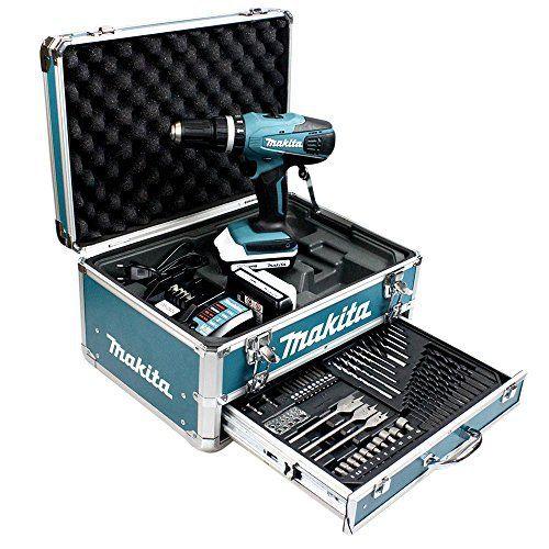 Makita HP457DWEX4 Perceuse visseuse à percussion en mallette en Alu avec 2 batteries 18 V 1,3 Ah/74 accessoires: Perceuse visseuse à…
