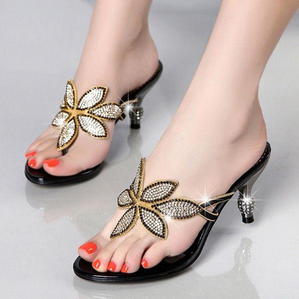 Womens Rhinestone Wedge Sandal Open Toe Chunky Heels Slipper Evening Wedding Dress Slide Sandals