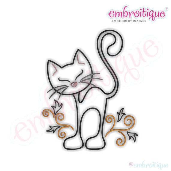 Curly Cat Redwork Outline Embroidery Design Mais
