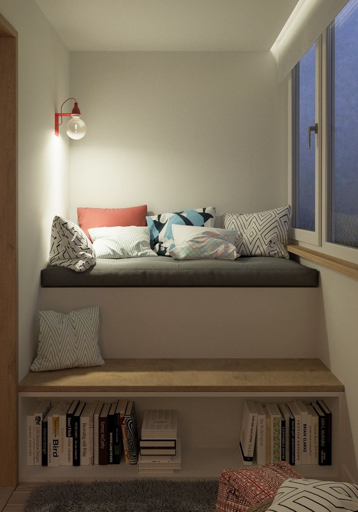 Home Designing — (via Bookshelf Cushions Steps)                              …