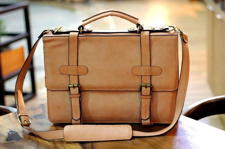 Stylish Vintage Leather Messenger Laptop Bag Unisex Business Briefcase Handbag   eBay