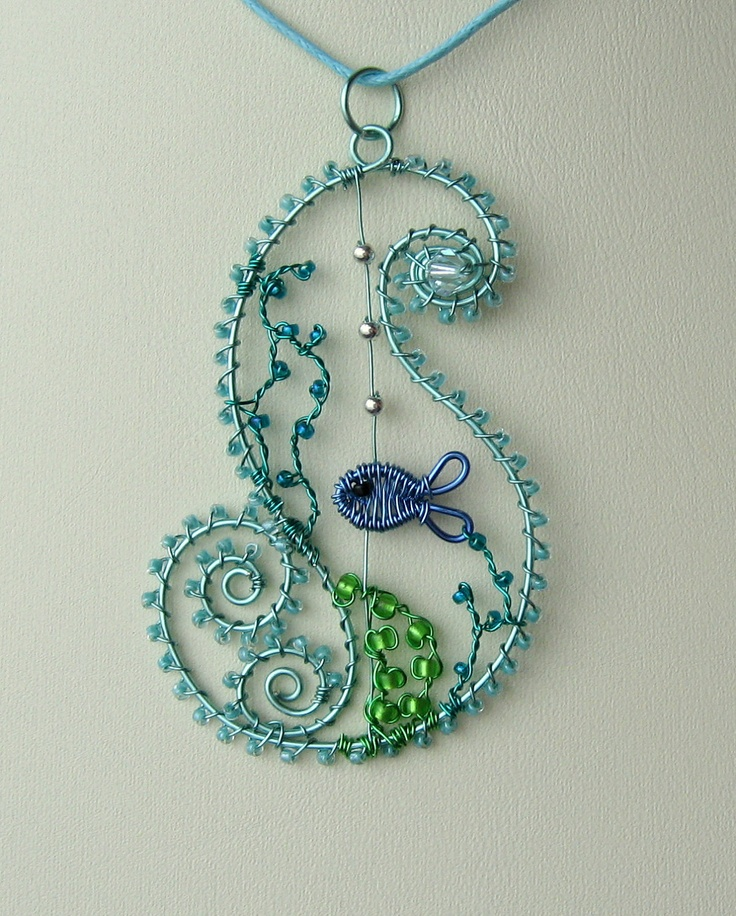 Ocean Wave wire wrapped sea themed pendant with by LouiseGoodchild, £32.00