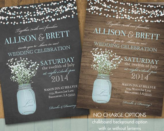 Mason Jar Wedding Invitation Suite - Rustic Country Baby's Breath in blue mason jar
