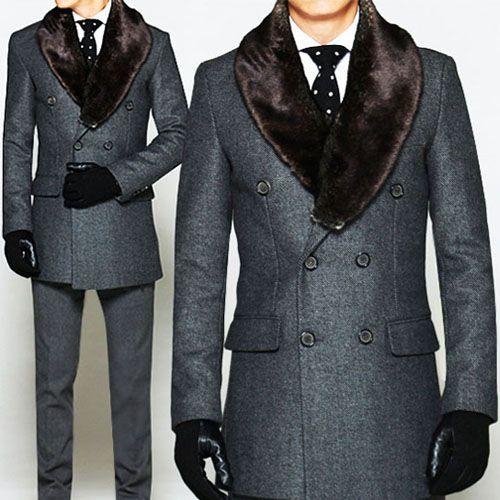 """Men's """"Churchill"""" Faux Rabbit Double Tweed Coat"""
