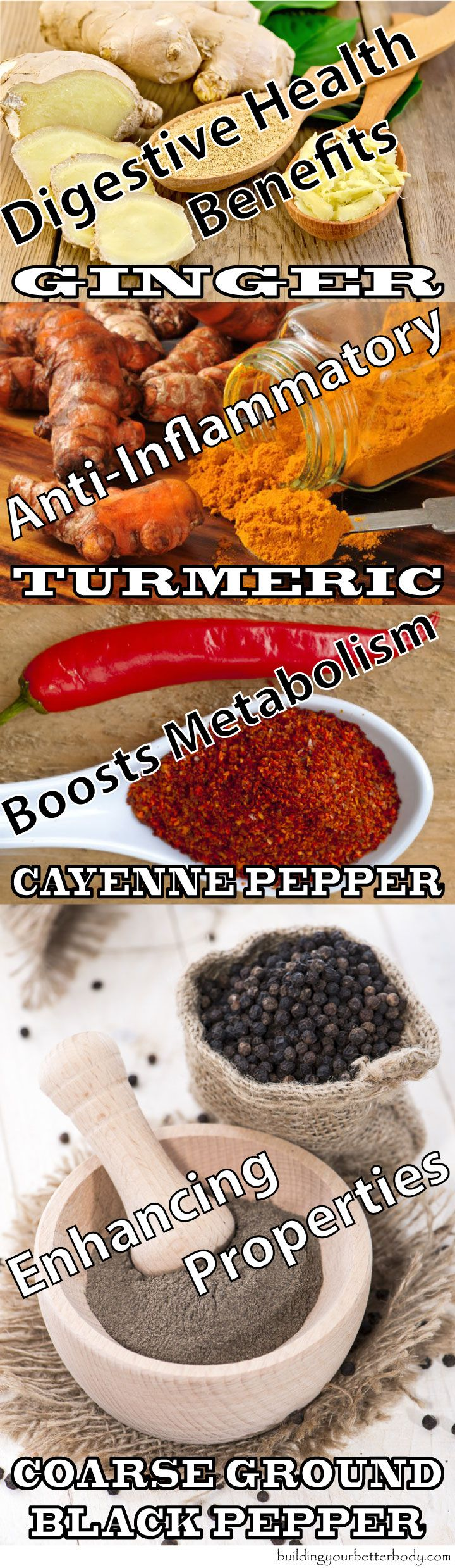 health benefits of turmeric, ginger, cayenne pepper and black pepper