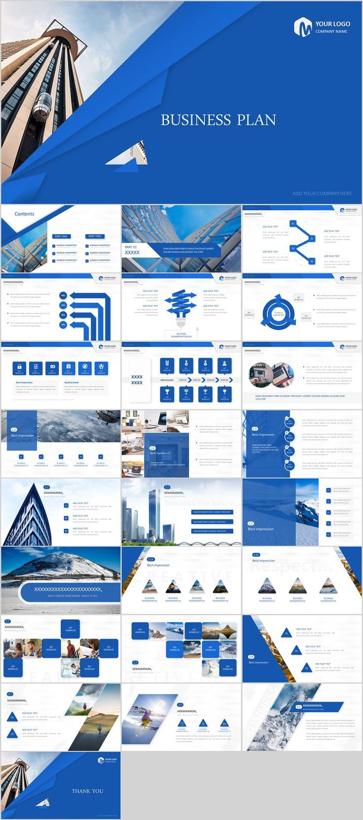 26+ Blue Creative business Plan PowerPoint template on