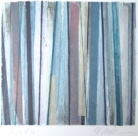 Stripes 36 -  blue, white, pink and gray striped Collagraph hand-pulled print - 5.5 x 5 inches