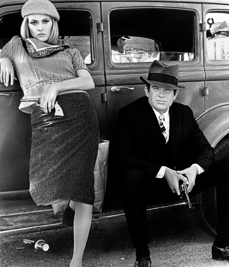 Faye Dunaway and Warren in Bonnie and Clyde, 1967
