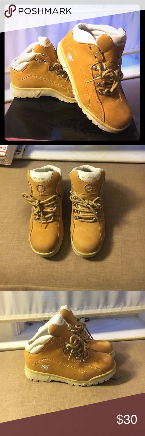 Waterproof, Timberland Boots for kids Tan and white, waterproof Timbaland boots; in great condition! Timberland Shoes Boots
