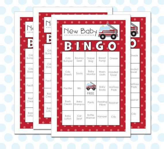 Baby Shower Ideas For Boys fire trucks | Baby Shower Bingo 30 Cards Fire Truck - Instant Download | Party Ideas