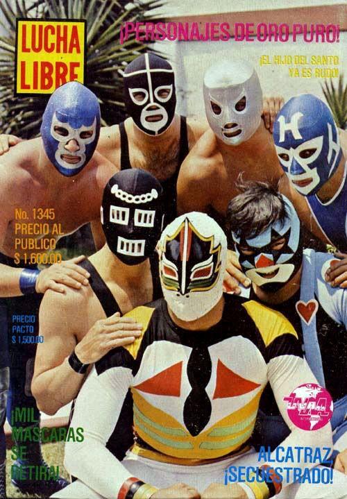 Blue Demon Jr., Black Shadow Jr. I, El Hijo del Santo, Huracan Jr.Alcatraz, Super MunecoMascara Sagrada  LUCHA LIBRE MAGAZINE #1345