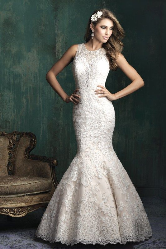 C350 Allure Couture Bridal Gown - Sheer lace-covered English net and a demure high neck evoke vintage appeal.