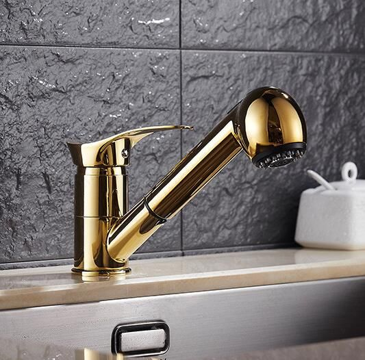 Free Shipping Gold Kitchen faucet brass faucet hot and cold sink tap Water Tap with pull out shower head Kitchen Mixer